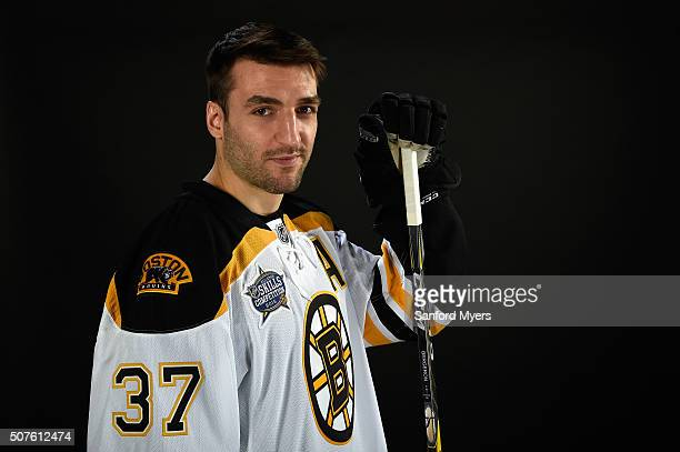 Patrice Bergeron of the Boston Bruins poses for a 2016 NHL AllStar portrait at Bridgestone Arena on January 30 2016 in Nashville Tennessee
