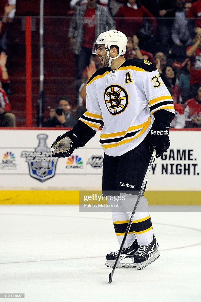 <a gi-track='captionPersonalityLinkClicked' href=/galleries/search?phrase=Patrice+Bergeron&family=editorial&specificpeople=204162 ng-click='$event.stopPropagation()'>Patrice Bergeron</a> #37 of the Boston Bruins reacts after being called for a penalty in Game Four of the Eastern Conference Quarterfinals against the Washington Capitals during the 2012 NHL Stanley Cup Playoffs at Verizon Center on April 19, 2012 in Washington, DC.