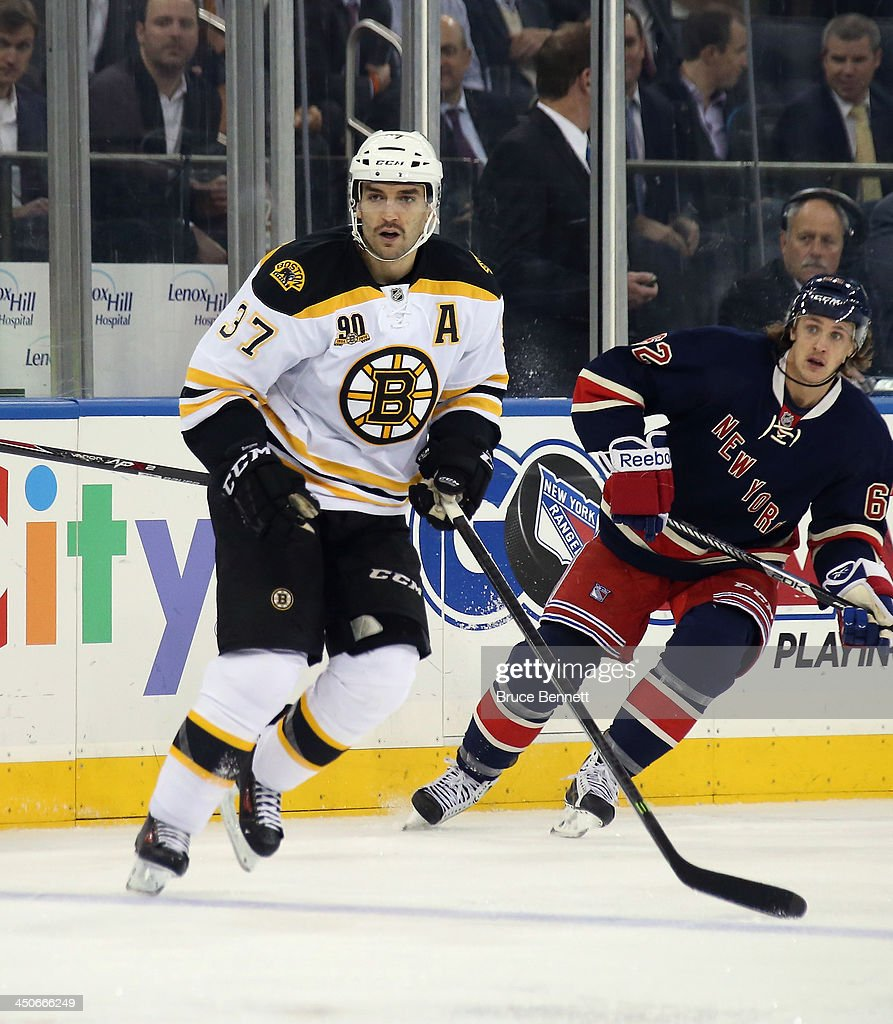 Patrice Bergeron #37 of the Boston Bruins skates against the New York Rangers at Madison Square Garden on November 19, 2013 in New York City. The Bruins defeated the Rangers 2-1.
