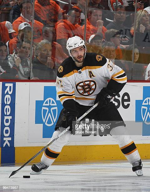 Patrice Bergeron of the Boston Bruins skates against the Philadelphia Flyers in Game Six of the Eastern Conference Semifinals during the 2010 NHL...