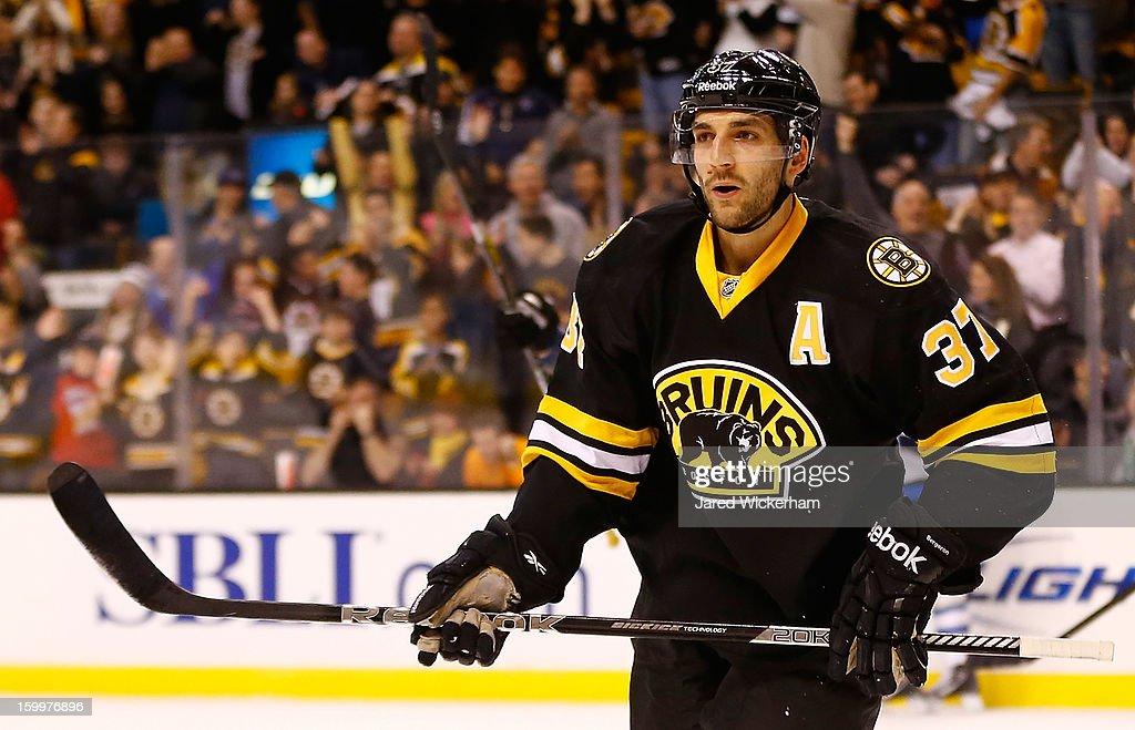 Patrice Bergeron #37 of the Boston Bruins skates against the Winnipeg Jets during the game on January 21, 2013 at TD Garden in Boston, Massachusetts.