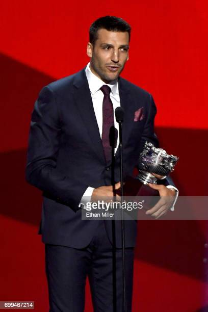Patrice Bergeron of the Boston Bruins speaks after winning the Frank J Selke Trophy during the 2017 NHL Awards and Expansion Draft at TMobile Arena...