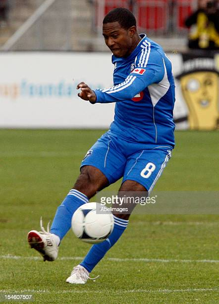 Patrice Bernier of the Montreal Impact moves the ball during MLS action against the Toronto FC at BMO Field October 20 2012 in Toronto Ontario Canada