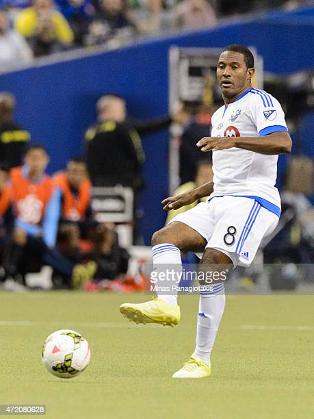 Patrice Bernier of the Montreal Impact passes the ball in the 2nd Leg of the CONCACAF Champions League Final against Club America at Olympic Stadium...