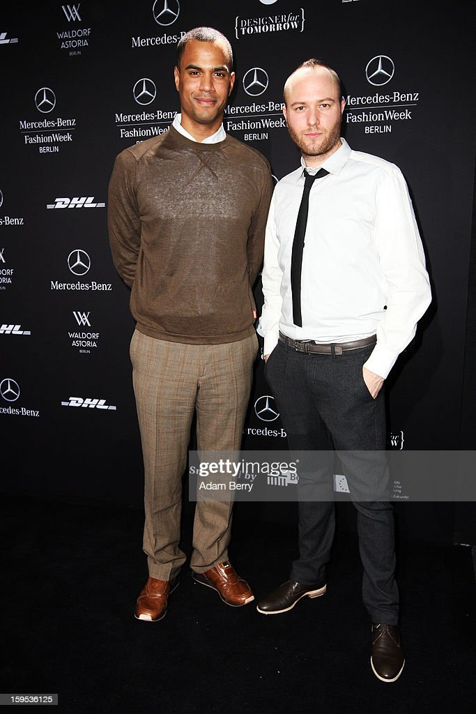 Patrice Bouedibela and Marc Stone attend Marc Stone Autumn/Winter 2013/14 fashion show during Mercedes-Benz Fashion Week Berlin at Brandenburg Gate on January 15, 2013 in Berlin, Germany.