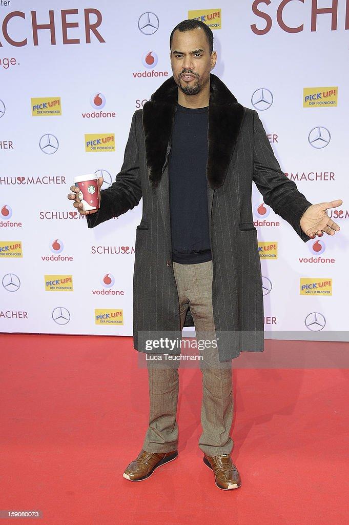 Patrice Bouedibela attend the 'Der Schlussmacher' Berlin Premiere at Cinestar Potsdamer Platz on January 7, 2013 in Berlin, Germany.