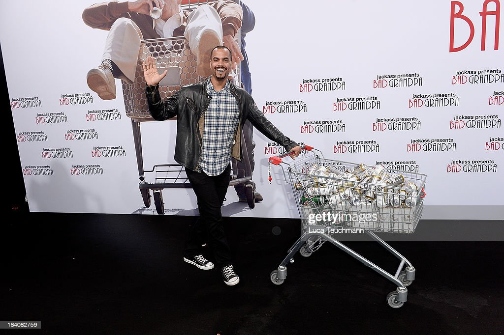 Patrice Bouedibela attends 'Jackass Bad Grandpa' Germany Premiere at Kino in der Kulturbrauerei on October 11 2013 in Berlin Germany