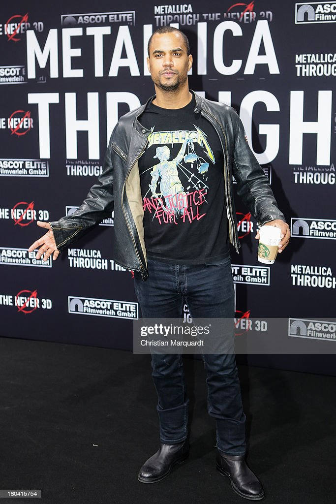 Patrice Bouedibela attends the German premiere of 'Metallica - Through The Never' on September 12, 2013 in Berlin, Germany.
