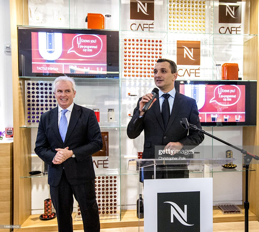 Patrice Bula, Chairman of Nespresso and Frederic Levy, President, Nespresso USA host the San Francisco Nespresso Boutique Grand Opening on January 22, 2013 in San Francisco, California.