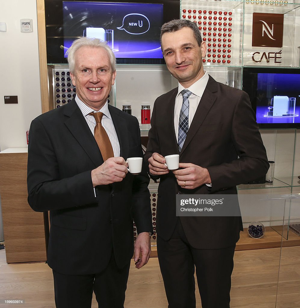 Patrice Bula, Chairman of Nespresso and Frederic Levy, President, Nespresso USA host the Nespresso Boutique Grand Opening on January 23, 2013 in San Francisco, California.