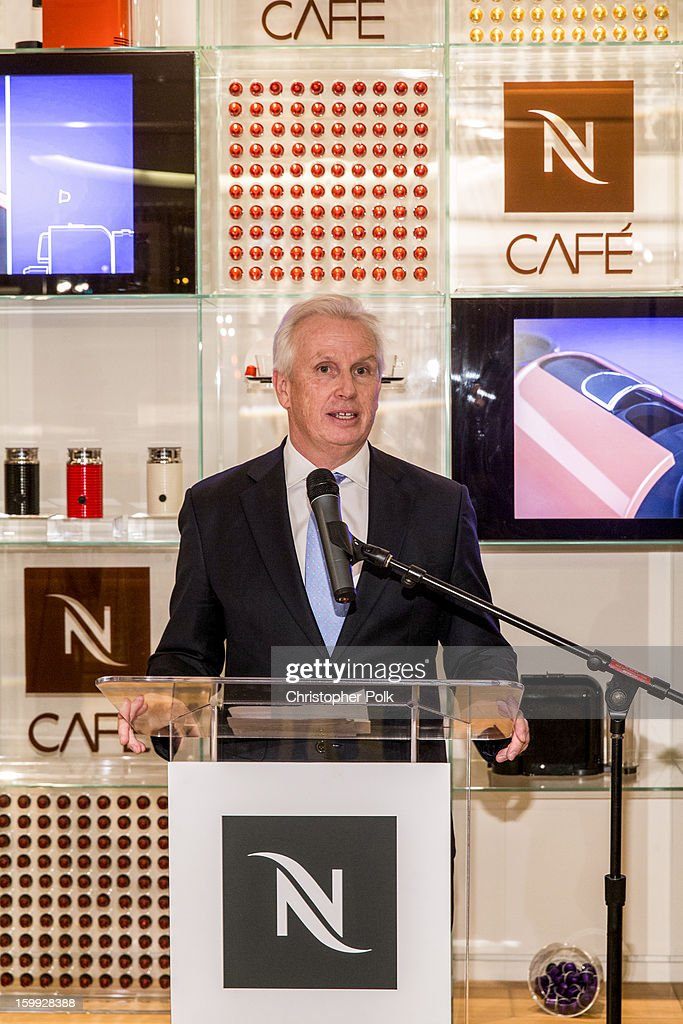 Patrice Bula, Chairman of Nespresso speaks at Nespresso's Launch Of Their First West Coast Boutique on January 22, 2013 in San Francisco, California.