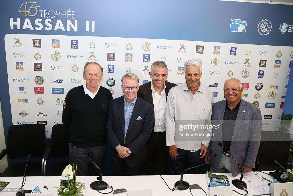 Patrice Clerc (Sports Advisor to the Chairman Hassan II Golf Trophy Association;) <a gi-track='captionPersonalityLinkClicked' href=/galleries/search?phrase=Keith+Pelley&family=editorial&specificpeople=8533833 ng-click='$event.stopPropagation()'>Keith Pelley</a> (Chief Executive of The European Tour; Ivan Khodabakhsh (Chief Executive Officer of the Ladies European Tour), Mustapha Zine (Deputy Vice Chairman Hassan II Golf Trophy Association) and Mohamed Chaibi (Deputy Vice Chairman Hassan II Golf Trophy Association) attend a press conference prior to the start of the Trophee Hassan II at Royal Golf Dar Es Salam on May 4, 2016 in Rabat, Morocco.