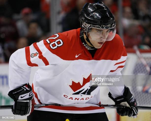 Patrice Cormier of Team Canada readies for a faceoff during the game against Team Russia at the semifinals at the IIHF World Junior Championships at...