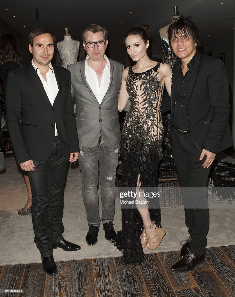 Patrice Courtaban, Hayari CEO Hugues Alard, Model Elena Alexandra designer Nabil Hayari attend Le Lounge on February 22, 2013 in Los Angeles, California.