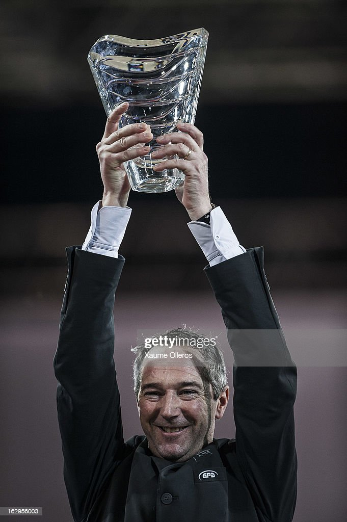 Patrice Delaveau of France celebrates after winning the Longines Grand Prix during the Longines Hong Kong Masters International Show Jumping at Asia World Expo on March 2, 2013 in Hong Kong, Hong Kong.