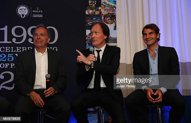 Patrice Dominguez Zeljko Franulovic and Roger Federer at the ATP heritage event celebrating 25 years partnership between the ATP and Monte Carlo...