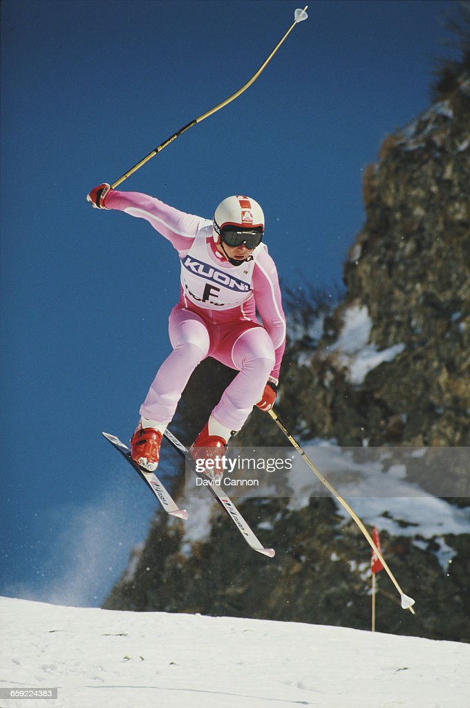 Patrice Dupasquier of Switzerland during the International Ski Federation Men's downhill at the Alpine Skiing World Cup event on 17 January 1987 in...