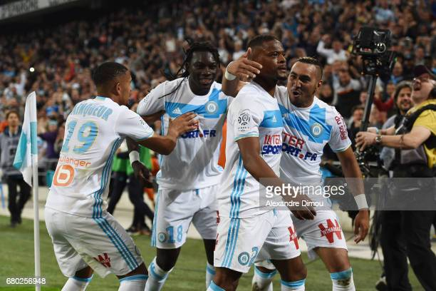 Patrice Evra and Dimitri Payet and Bafetimbi Gomis and William Vainqueur of Marseille celebrates the goal of Patrice Evra during the Ligue 1 match...