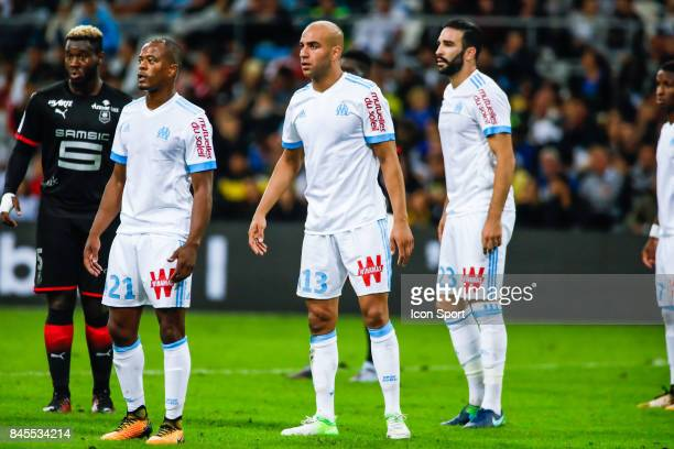Patrice Evra Aymen Abdennour an Adil Rami of Marseille during the Ligue 1 match between Olympique Marseille and Stade Rennais at Stade Velodrome on...