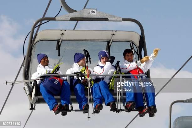 Patrice EVRA / Mathieu VALBUENA / Franck RIBERY / Yoann GOURCUFF Depart au Glacier Stage de l'Equipe de France avant la Coupe du Monde 2010 Tignes...