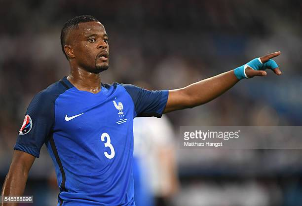 Patrice Evra of France signals during the UEFA EURO semi final match between Germany and France at Stade Velodrome on July 7 2016 in Marseille France