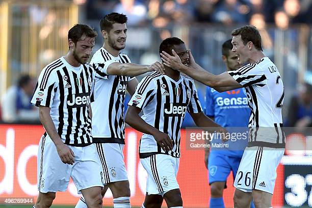 Patrice Evra of Juventus FC celebrates after scoring a goal during the Serie A match between Empoli FC and Juventus FC at Stadio Carlo Castellani on...