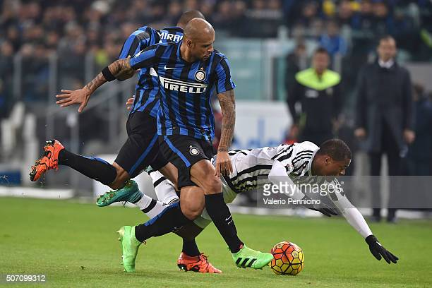 Patrice Evra of Juventus FC is tackled by Felipe Melo of FC Internazionale Milano during the TIM Cup match between Juventus FC and FC Internazionale...