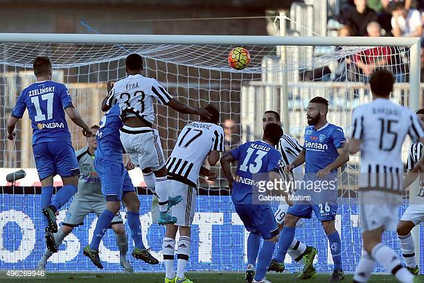 Patrice Evra of Juventus FC scores a goal during the Serie A match between Empoli FC and Juventus FC at Stadio Carlo Castellani on November 8 2015 in...
