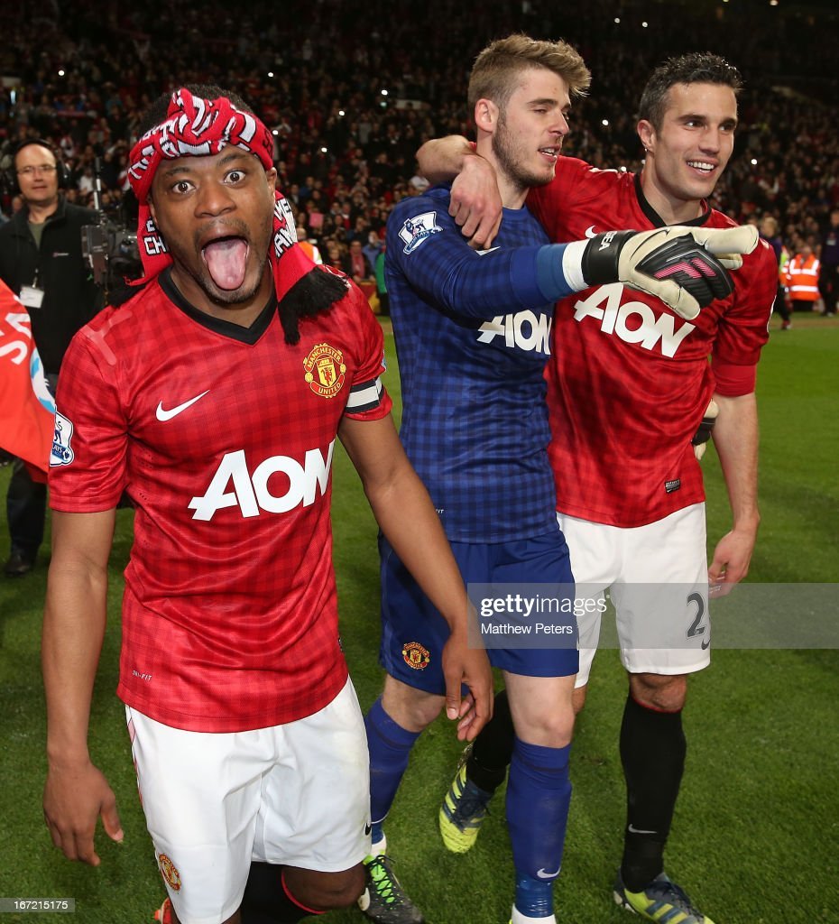 <a gi-track='captionPersonalityLinkClicked' href=/galleries/search?phrase=Patrice+Evra&family=editorial&specificpeople=714865 ng-click='$event.stopPropagation()'>Patrice Evra</a> of Manchester United celebrate after the Barclays Premier League match between Manchester United and Aston Villa at Old Trafford on April 22, 2013 in Manchester, England.