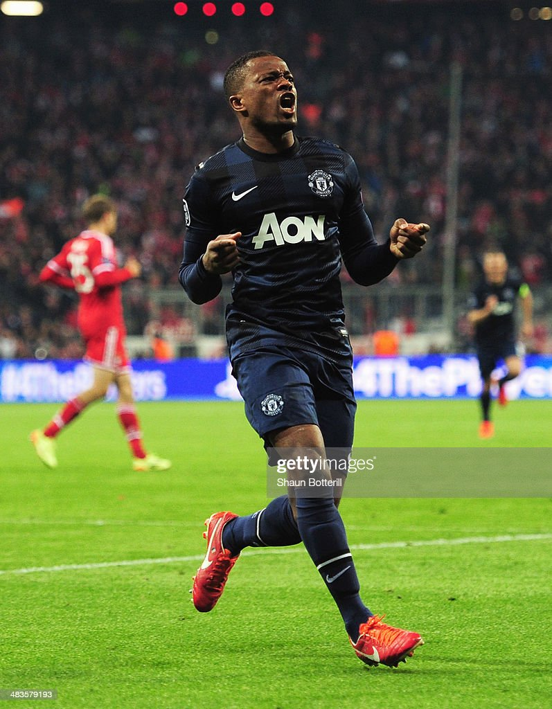 <a gi-track='captionPersonalityLinkClicked' href=/galleries/search?phrase=Patrice+Evra&family=editorial&specificpeople=714865 ng-click='$event.stopPropagation()'>Patrice Evra</a> of Manchester United celebrates his goal during the UEFA Champions League Quarter Final second leg match between FC Bayern Muenchen and Manchester United at Allianz Arena on April 9, 2014 in Munich, Germany.