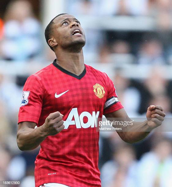 Patrice Evra of Manchester United celebrates scoring their second goal during the Barclays Premier League match between Newcastle United and...