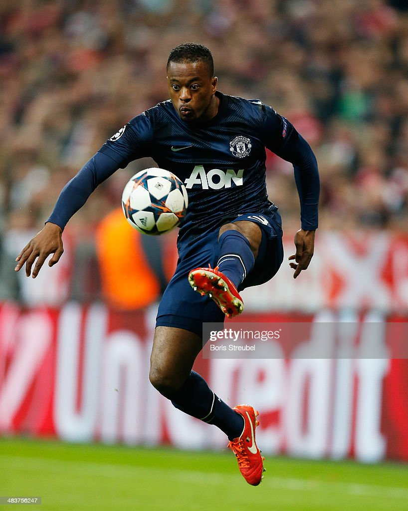 Patrice Evra of Manchester United controls the ball during the UEFA Champions League Quarter Final second leg match between FC Bayern Muenchen and Manchester United at Allianz Arena on April 9, 2014 in Munich, Germany.