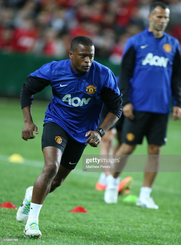 Patrice Evra of Manchester United in action during a first team training session as part of their pre-season tour of Bangkok, Australia, China, Japan and Hong Kong on July 19, 2013 in Sydney, Australia.