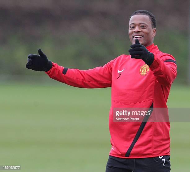Patrice Evra of Manchester United in action during a first team training session ahead of their UEFA Europa League round of 32 second leg match...