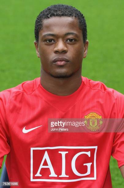 Patrice Evra of Manchester United poses during the club's official annual photocall at Old Trafford on August 28 2007 in Manchester England
