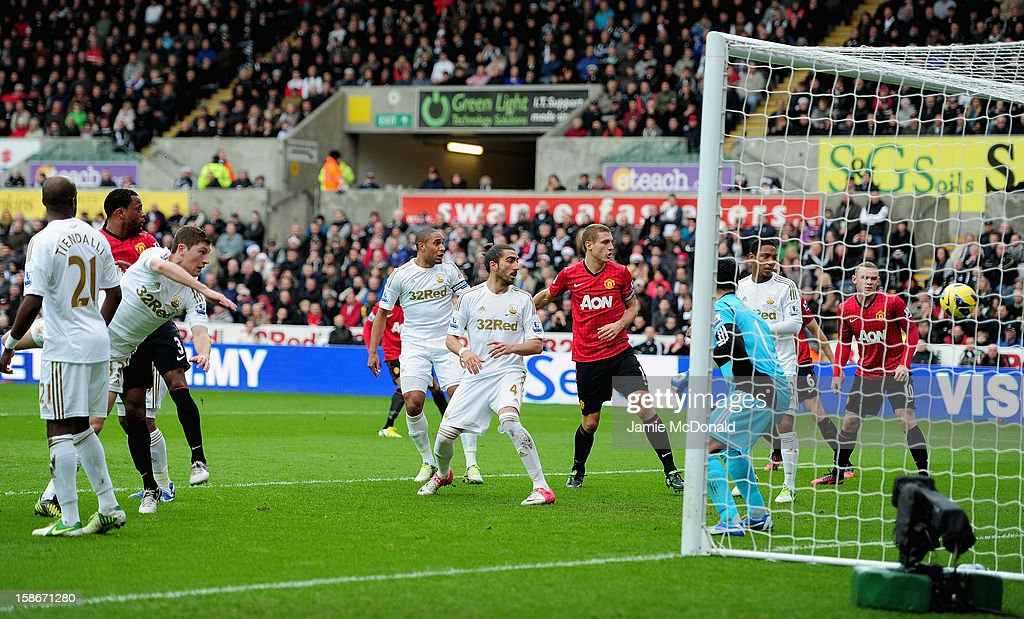<a gi-track='captionPersonalityLinkClicked' href=/galleries/search?phrase=Patrice+Evra&family=editorial&specificpeople=714865 ng-click='$event.stopPropagation()'>Patrice Evra</a> of Manchester United scores his goal during the Barclays Premier League match between Swansea City and Manchester United at the Liberty Stadium on December 23, 2012 in Swansea, Wales.