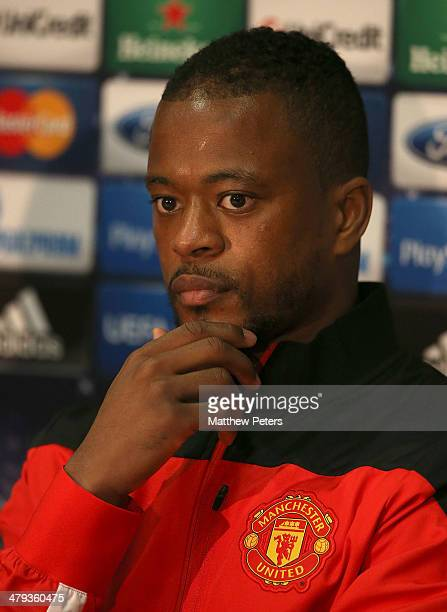 Patrice Evra of Manchester United speaks during a prematch press conference ahead of their UEFA Champions League Round of 16 second leg match against...
