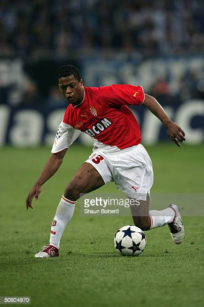 Patrice Evra of Monaco runs with the ball during the UEFA Champions League Final match between AS Monaco and FC Porto at the AufSchake Arena on May...