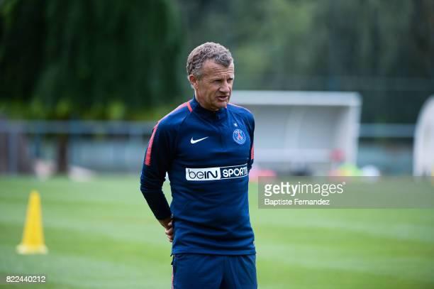 Patrice Lair head coach of Paris Saint Germain during a training session of Paris Saint Germain at Bougival on July 25 2017 in Paris France