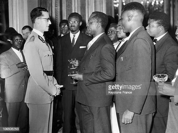 Patrice Lumumba And A Congolese Delegation Received By The King Of Belgium BaudoinBrussels In 1958