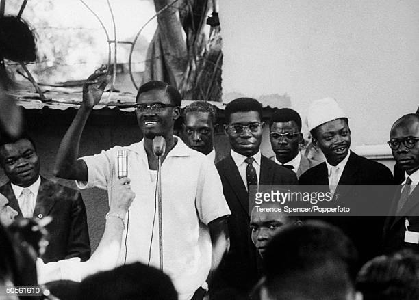 Patrice Lumumba speaking at political rally at time of Independence