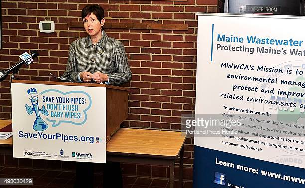 Patricia Aho Maine DEP Commissioner addresses the media at a press conference at the Westbrook Treatment Facility as Westbrook partners with INDA the...