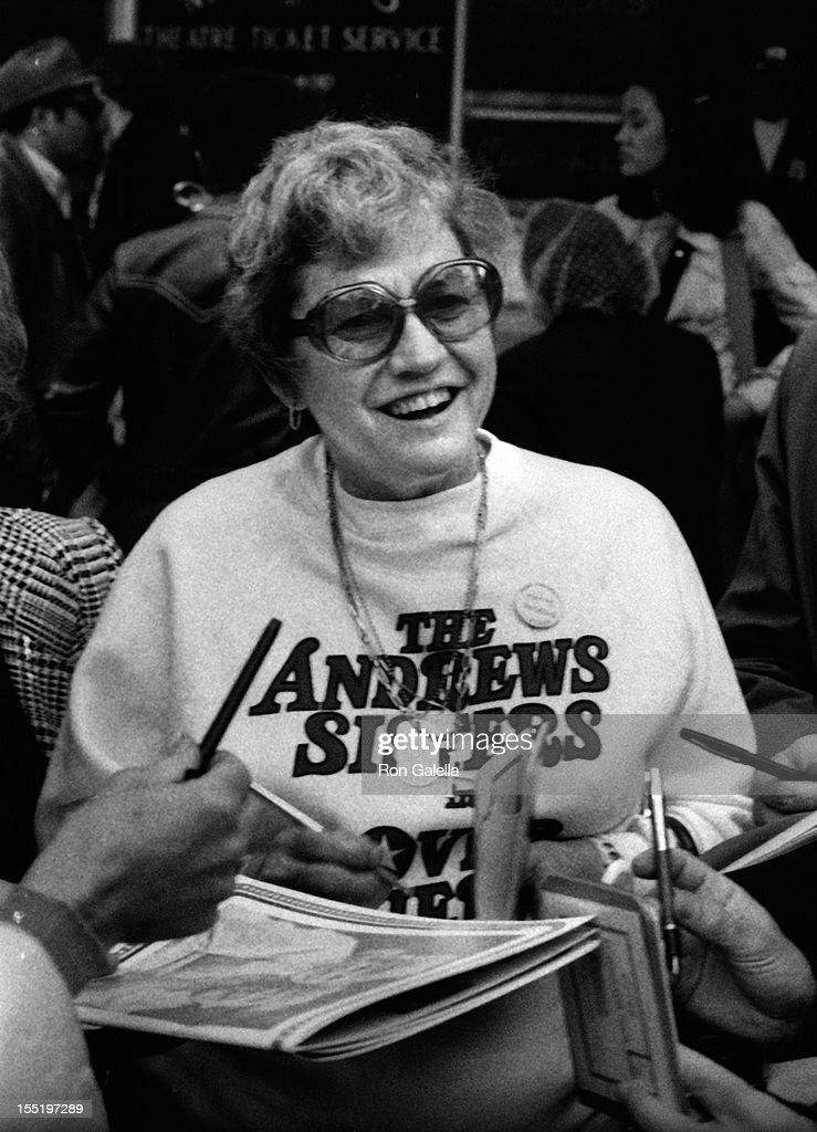 Patricia Andrews of the <a gi-track='captionPersonalityLinkClicked' href=/galleries/search?phrase=Andrews+Sisters&family=editorial&specificpeople=93076 ng-click='$event.stopPropagation()'>Andrews Sisters</a> attends the rehearsals for 28th Annual Tony Awards on April 21, 19874 at the Shubert Theater in New York City.