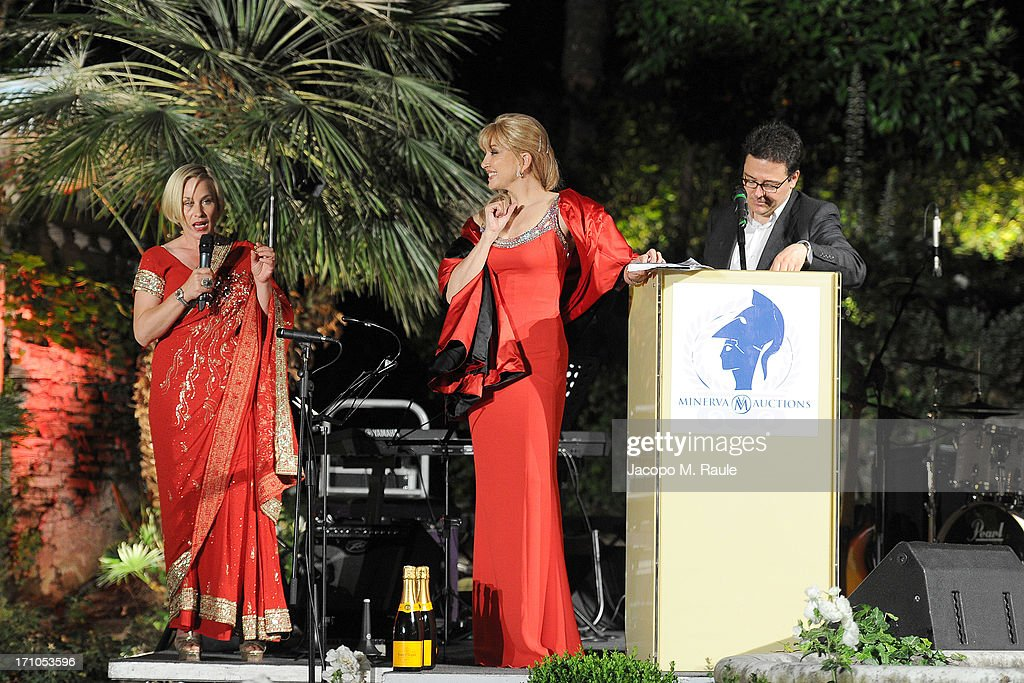 Patricia Arquette and Milly Carlucci attend Cash & Rocket On Tour Women for Women - Gala Dinner and Auction on June 16, 2013 in Rome, Italy.