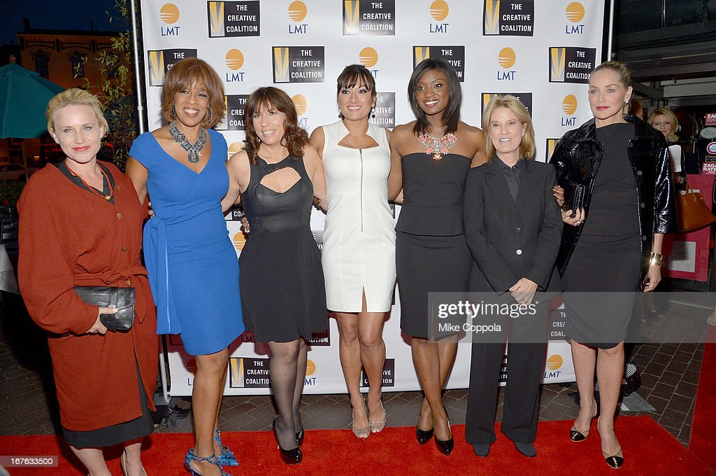 Patricia Arquette, Gayle King, Robin Bronk, Lani Hay, Lola Ogunnaike, Greta Van Susteren and Sharon Stone attend the Celebrating The Arts In American Dinner Party With Distinguished Women In Media Presented By Landmark Technology Inc. And The Creative Coalition at Neyla on April 26, 2013 in Washington, DC.