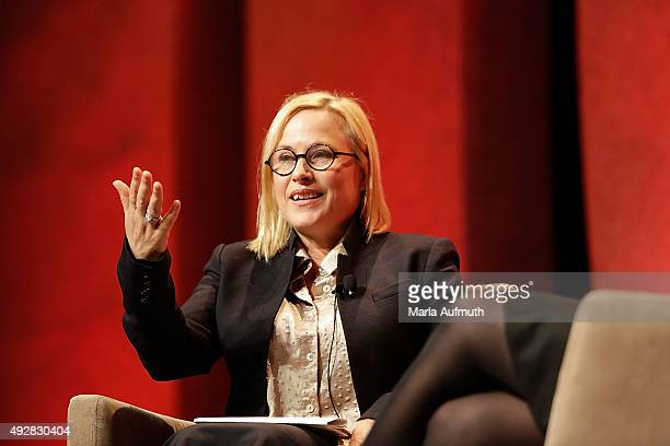 Patricia Arquette gives the keynote speach during the Texas Conference for Women at the Austin Convention Center on October 15 2015 in Austin Texas