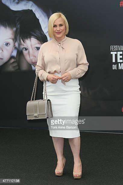 Patricia Arquette poses at a photocall for the TV series 'CSI CYBER' during the 55th Monte Carlo TV Festival on June 14 2015 in MonteCarlo Monaco
