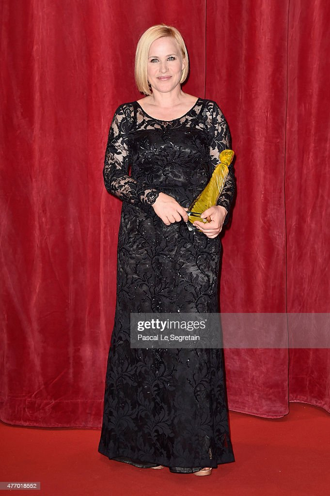 Patricia Arquette poses with her crystal Nymph for her career after the opening ceremony of the 55th Monte Carlo TV Festival on June 13, 2015 in Monte-Carlo, Monaco.