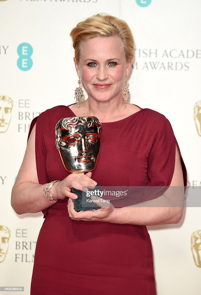Patricia Arquette, winner of the Best Supporting Actress award, poses in the winners room at the EE British Academy Film Awards at The Royal Opera House on February 8, 2015 in London, England.