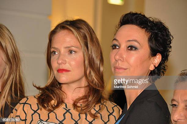 Patricia Aulitzky and Ursula Strauss pose during the 'Pregau Kein Weg Zurueck' Vienna presentation at Albert Hall on September 19 2016 in Vienna...